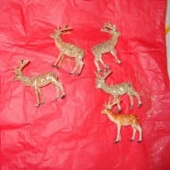 Great (And Cheap!) Christmas Decor Idea: Glitter Up Some Dollar Store Plastic Deer Toys