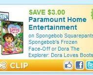 *NEW Coupon* $3 OFF Spongebob Squarepants: Spongebob's Frozen Face-Off or Dora The Explorer: Dora Loves Boots