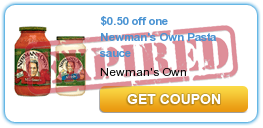 $0.50 off one Newman's Own Pasta sauce