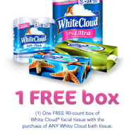 FREE White Cloud Facial Tissue with Purchase Of Bath Tissue Coupon- Available Only at Walmart