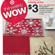 Target: FREE Threshold Holiday Placemats, 4¢ Coffee Creamer, $1.99 Stouffer's Family Size Meals + More Target Printable Coupons