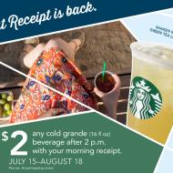 Starbucks Treat Receipt Is Back From 7/15 Thru 8/18