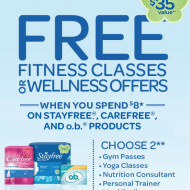 FREE Fitness Classes or Wellness Offers (Up To A $35 Value!) When You Buy $8 in Stayfree and Carefree Products Now Thru 8/17/13
