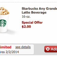 Safeway Just for U: Check Your Account for Starbucks Cafe Offer for ANY Grande Latte Beverage Just $2