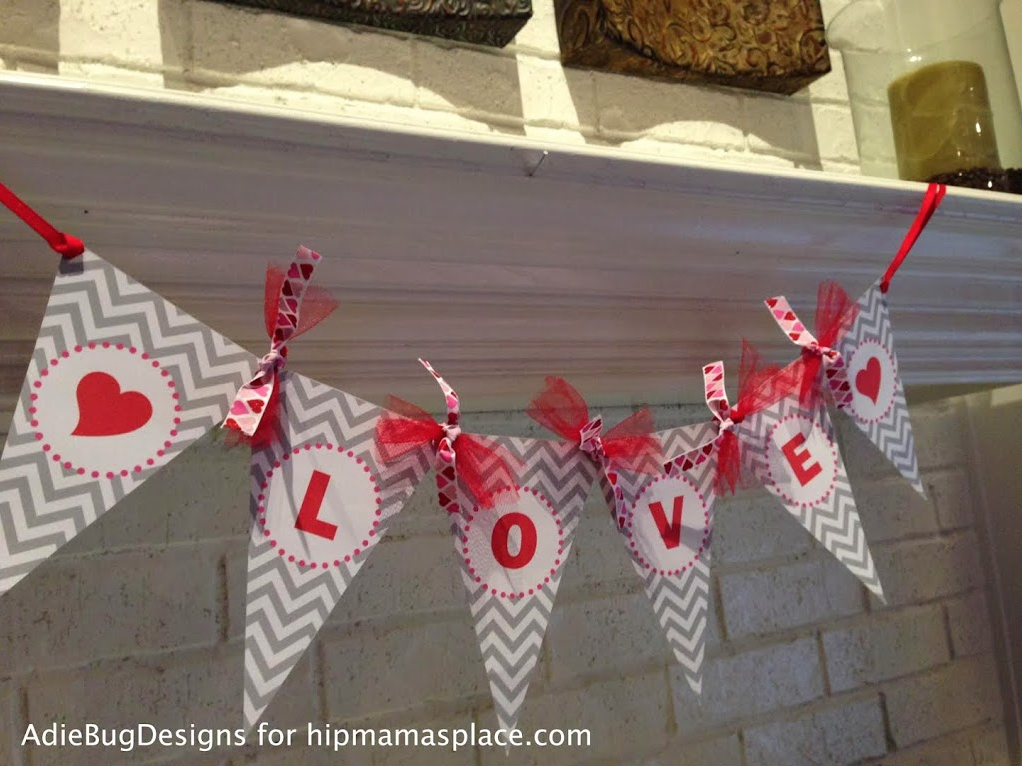 Valentine's Day mantel idea: decorate with LOVE banner + FREE printable to make your own!