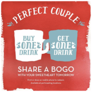 Buy One, Get One FREE Coffee Offers from Caribou Coffee and Starbucks- TODAY ONLY!