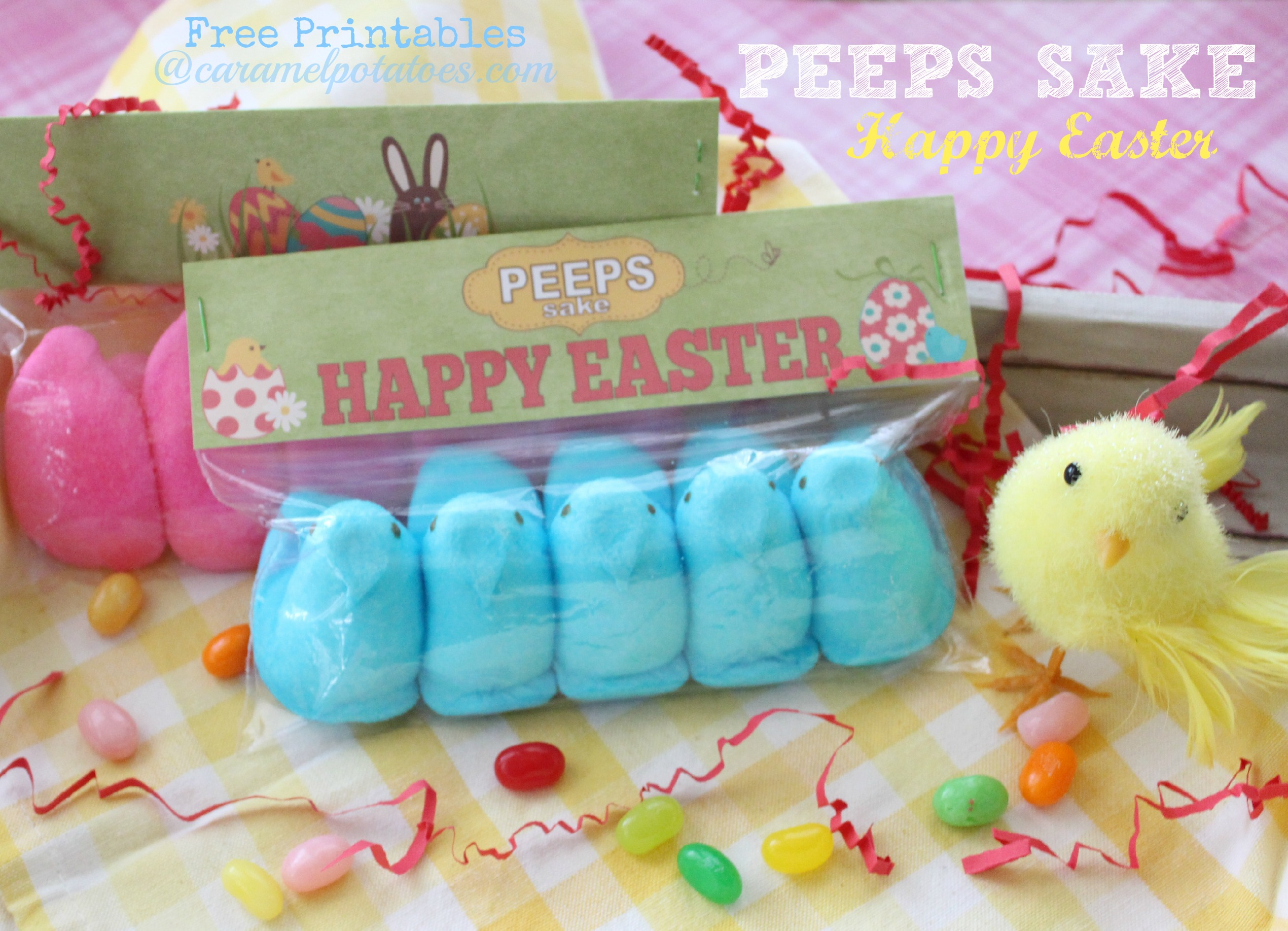 Peeps Sake Happy Easter free printable gift bag topper