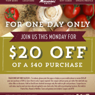 *TODAY ONLY* Romano's Macaroni Grill: $20 Off A $40 Or More Dine-In Purchase
