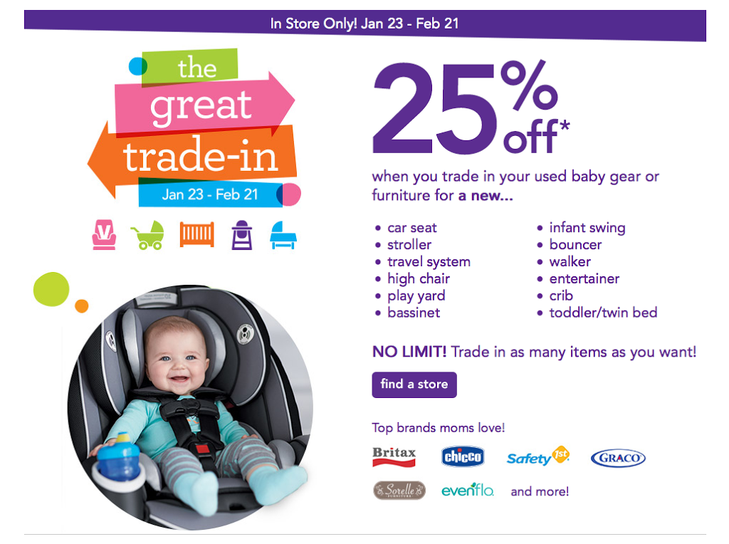 the great trade in event at toys r 39 us and babies r 39 us save 25 off new items when you trade. Black Bedroom Furniture Sets. Home Design Ideas
