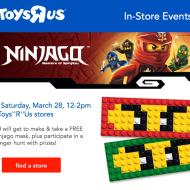 Toys R'Us: FREE LEGO Ninjago Mask Event for Kids on 3/28