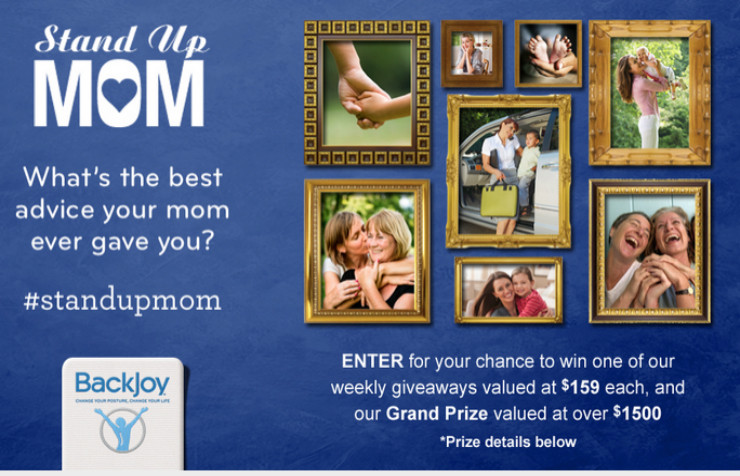 "Infographic on Back Pain + BackJoy ""Stand Up Mom"" Mother's Day #Giveaway!"