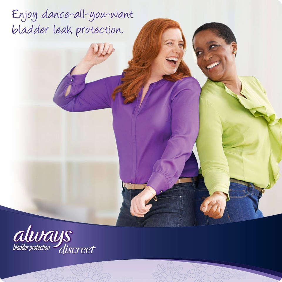 women dancing while wearing Always Discreet bladder protection pads