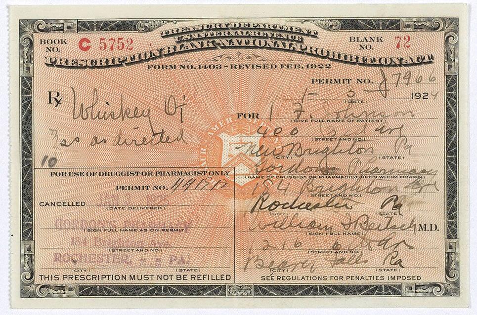 Prohibition Era Prescription for Whiskey