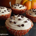 Pumpkin Spiced Chocolate Chip Marshmallow Cupcakes #SweetenTheSeason