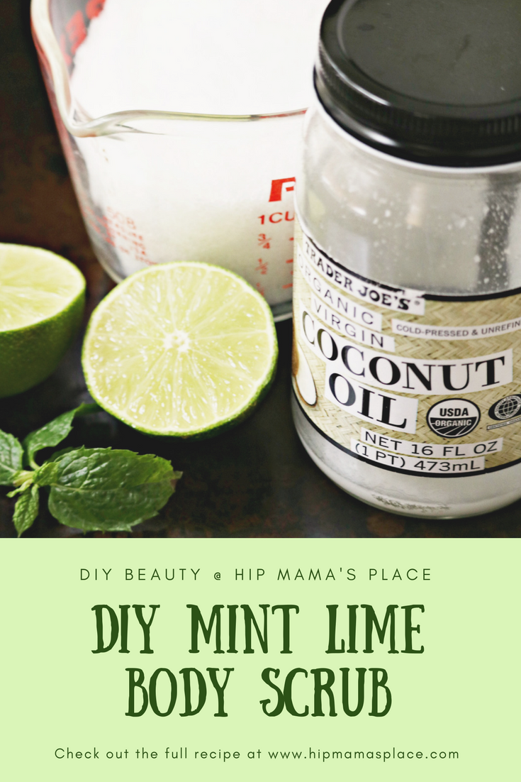Got dry, dull skin due to the harsh, cold winter season? Get your skin glowing again with this super easy DIY Mint Lime Body Scrub! #beauty #beautyrecipes #DIYbeauty #hipmamasplace #hipmamasplacebeauty