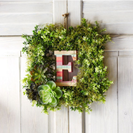 Craft Time: Boho Letter Boxwood Greenery Wreath + 20% Off at Michaels til 3/31