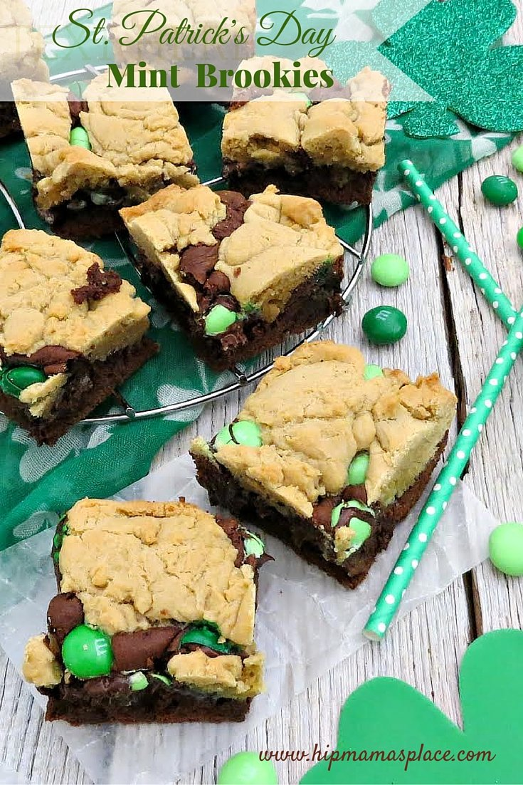 """Celebrate St. Patrick's Day with these fun, delicious mint brownie cookies or """"brookies""""!"""