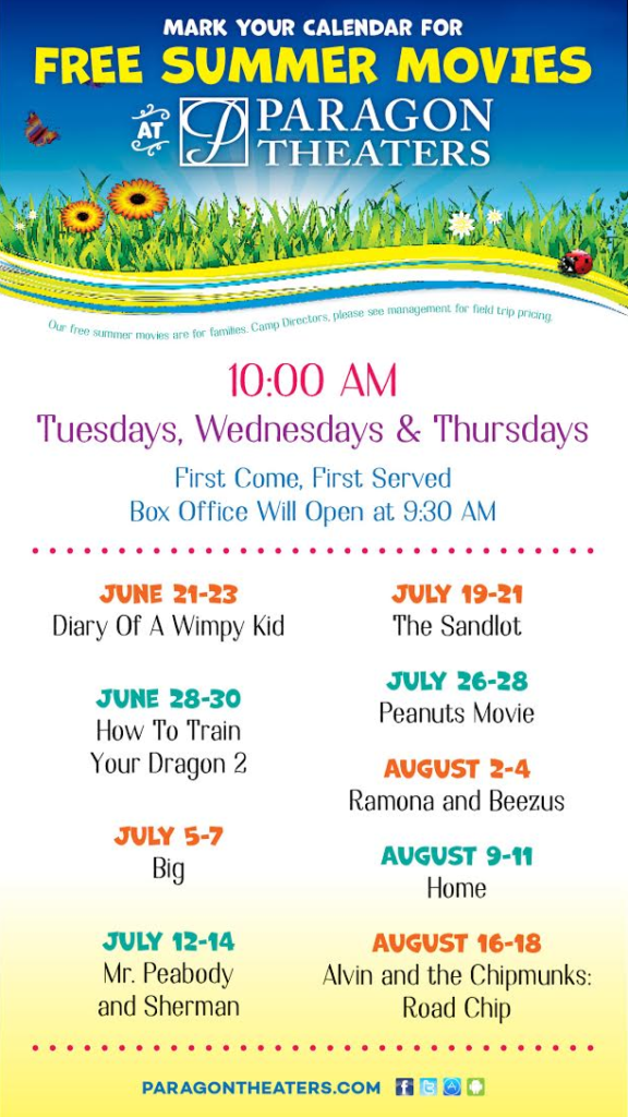 Free kids summer movies at Paragon Theaters