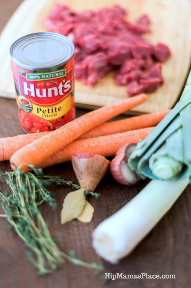 Hunt's Petite Diced Tomatoes.. perfect for my beef stew with leeks!