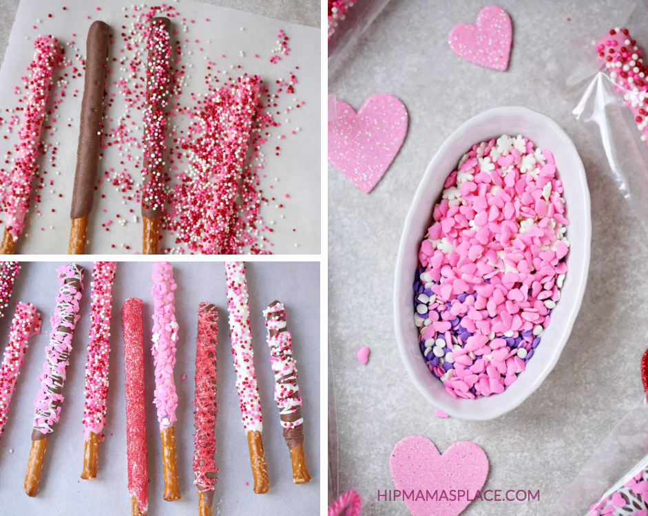 Valentine Themed Chocolate Covered Pretzels
