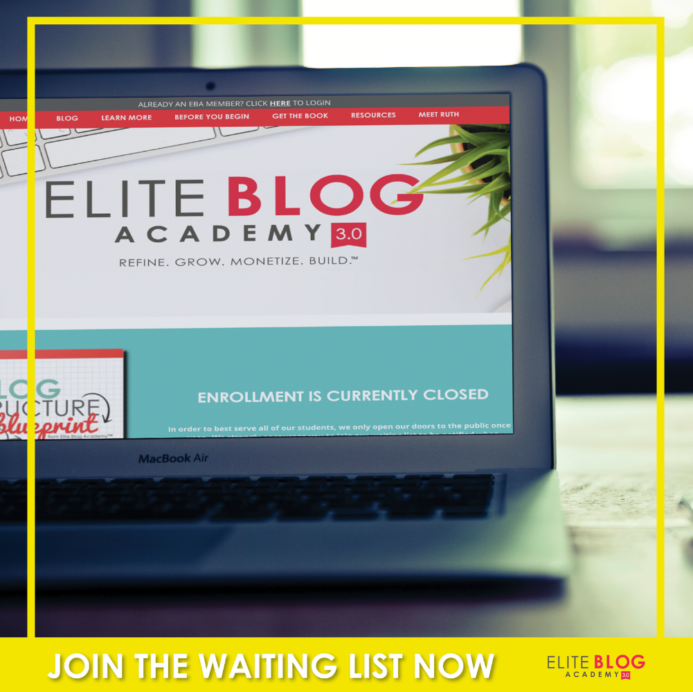 Join the waitlist for the Elite Blog Academy Course which opens on February 27, 2017!