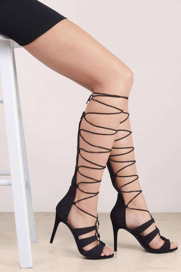 For the supreme sexy, pick up a pair of high-heeled, evening sandals that lace all the way up your calves to your knees.