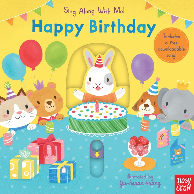 Happy Birthday is a fun board book featuring perennially popular nursery rhymes and songs, slider tabs, and cheerful illustrations.