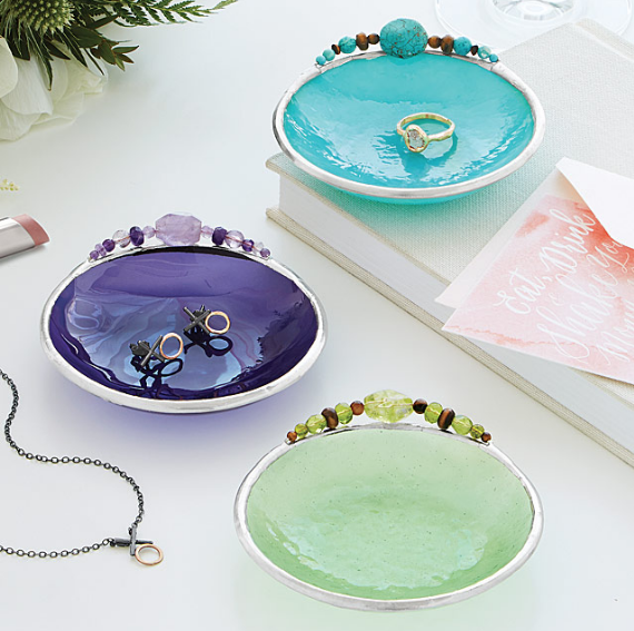 These stained glass bowls are handmade to represent each of the 12 traditional birthstone gems!