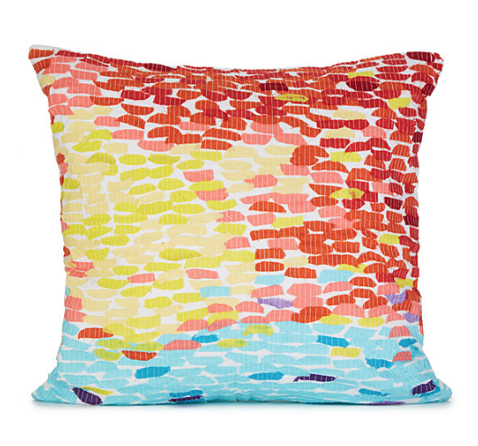 Snuggle up to this sunset-inspired, 100% cotton pillow reminiscent of Impressionist paintings.