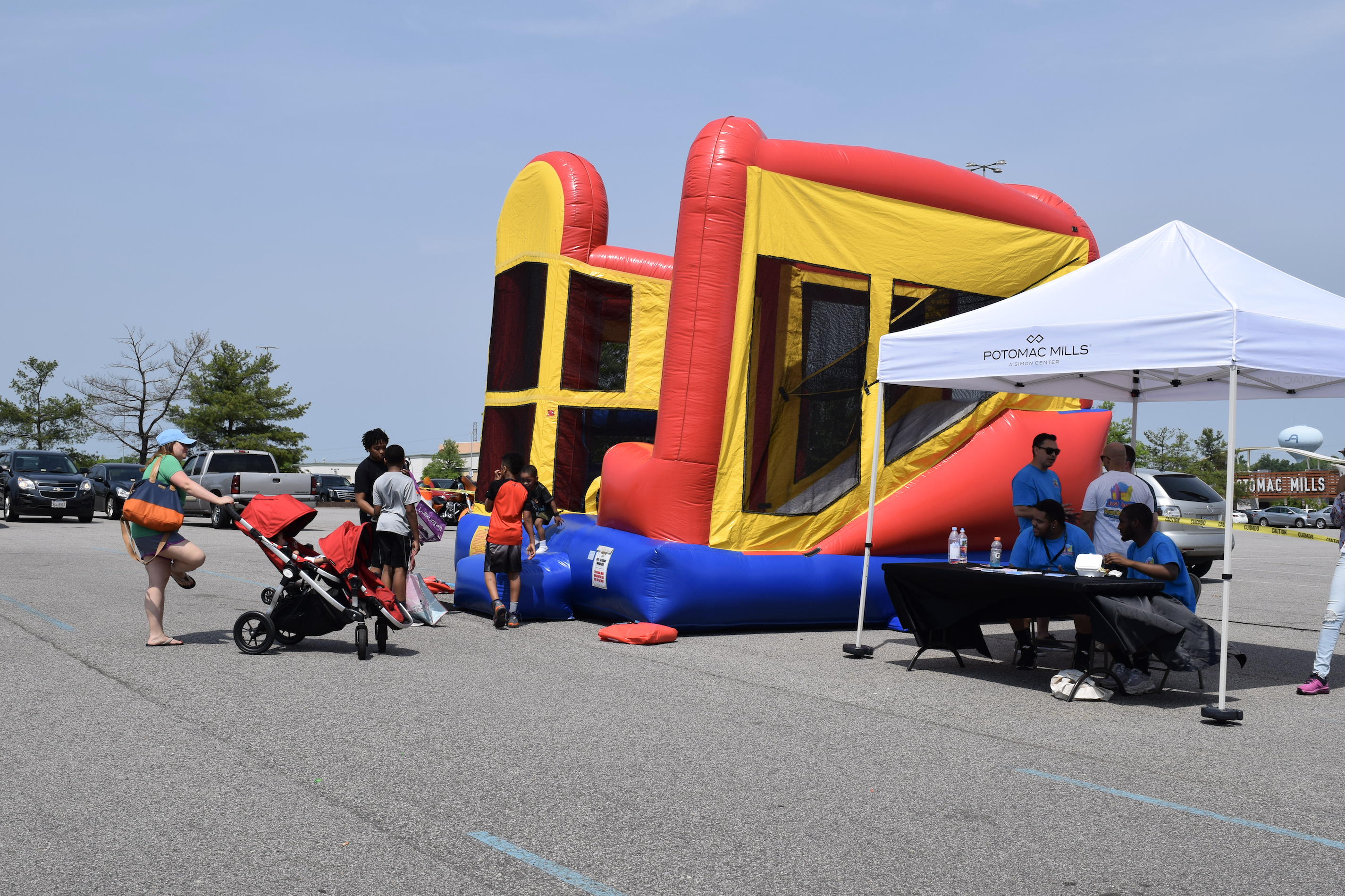 "Kids can enjoy free moon bounces at ""The Market at Potomac Mills"" farmers market in Woodbridge, Virginia (April 29, 2017)"