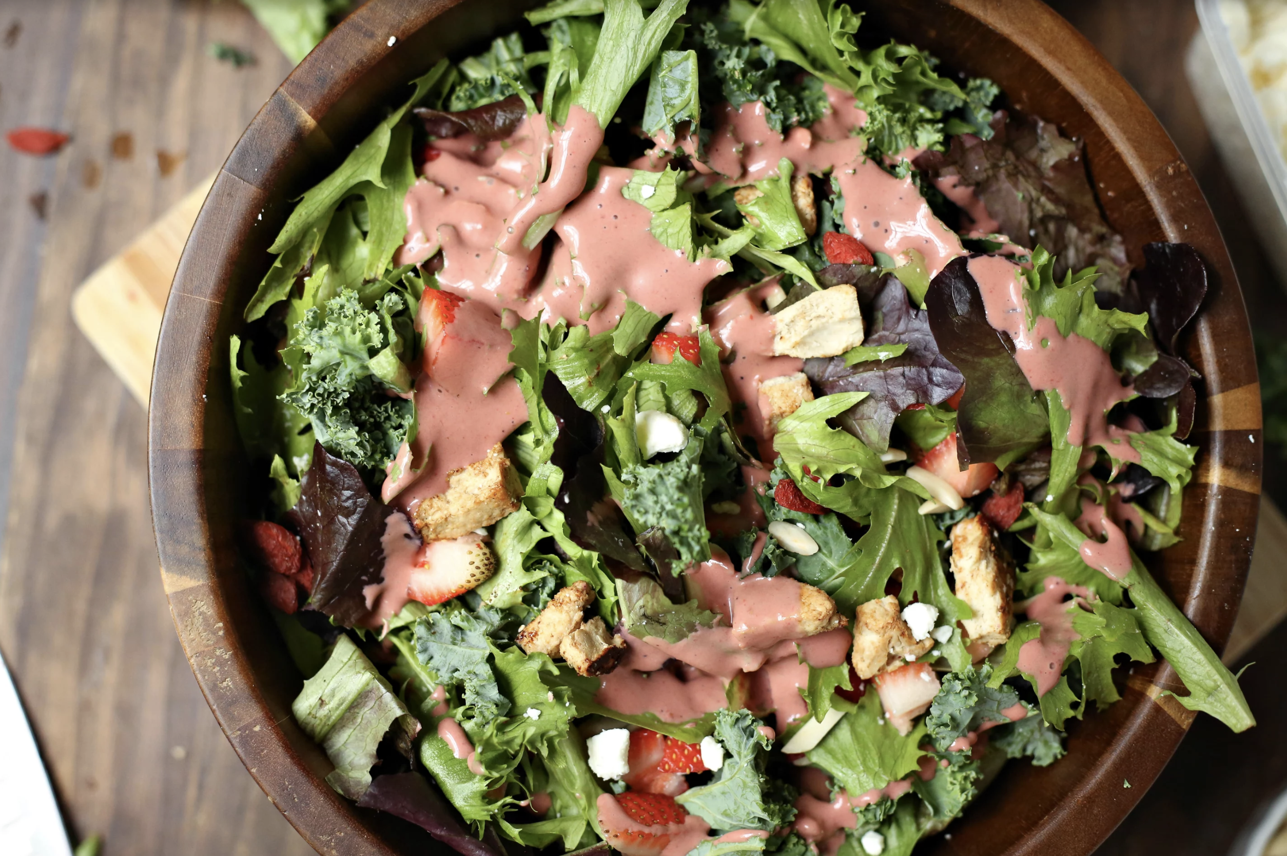 Delicious recipe for Spring Salad with Strawberry Balsamic Dressing!