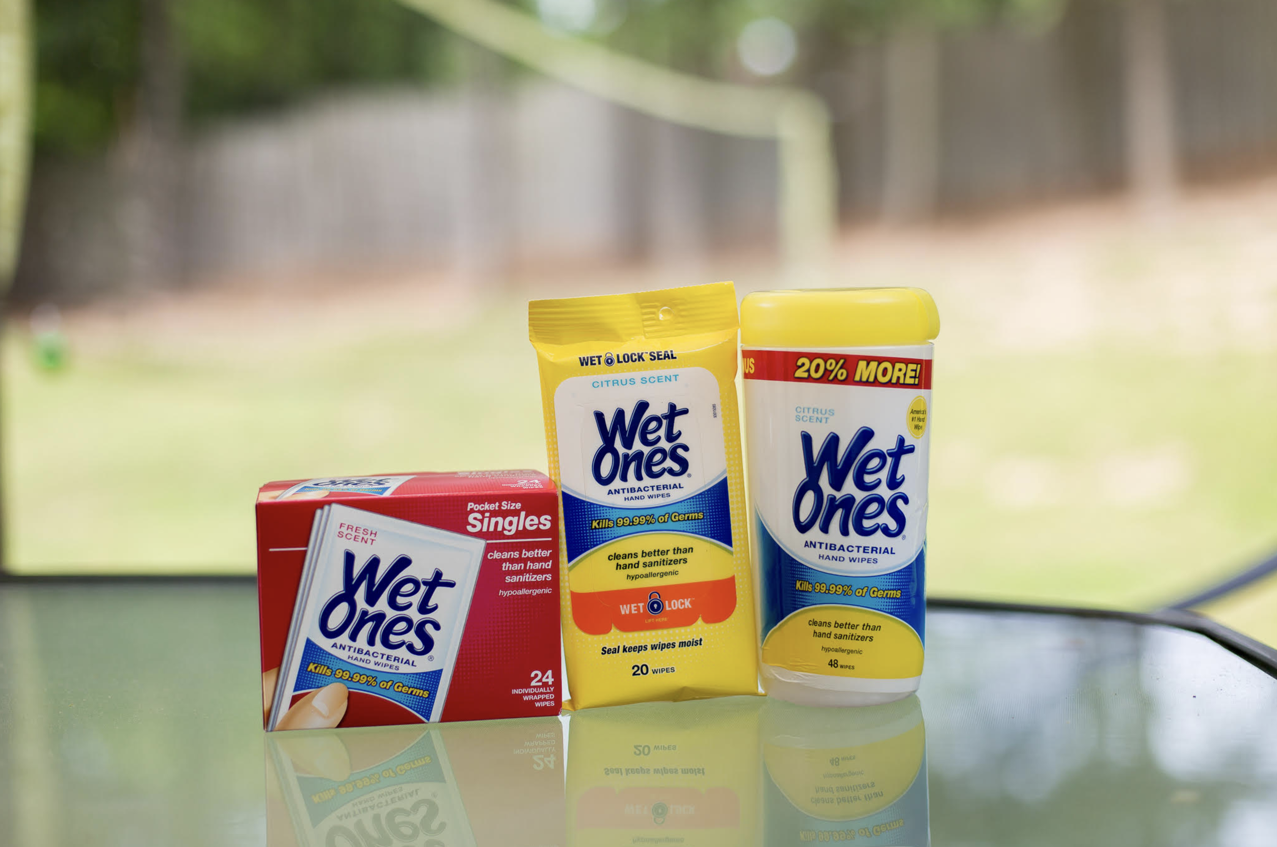 Wet Ones Hand Wipes kill up to 99.99% of germs! They are a convenient 2 in 1 way option for wiping dirt and messes when water isn't readily available.