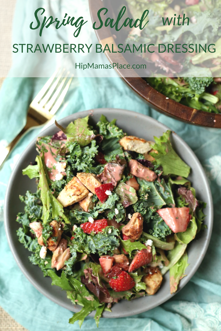 Perfectly delicious and super healthy Spring Salad with homemade Strawberry Balsamic Dressing recipe @ www.hipmamasplace.com!