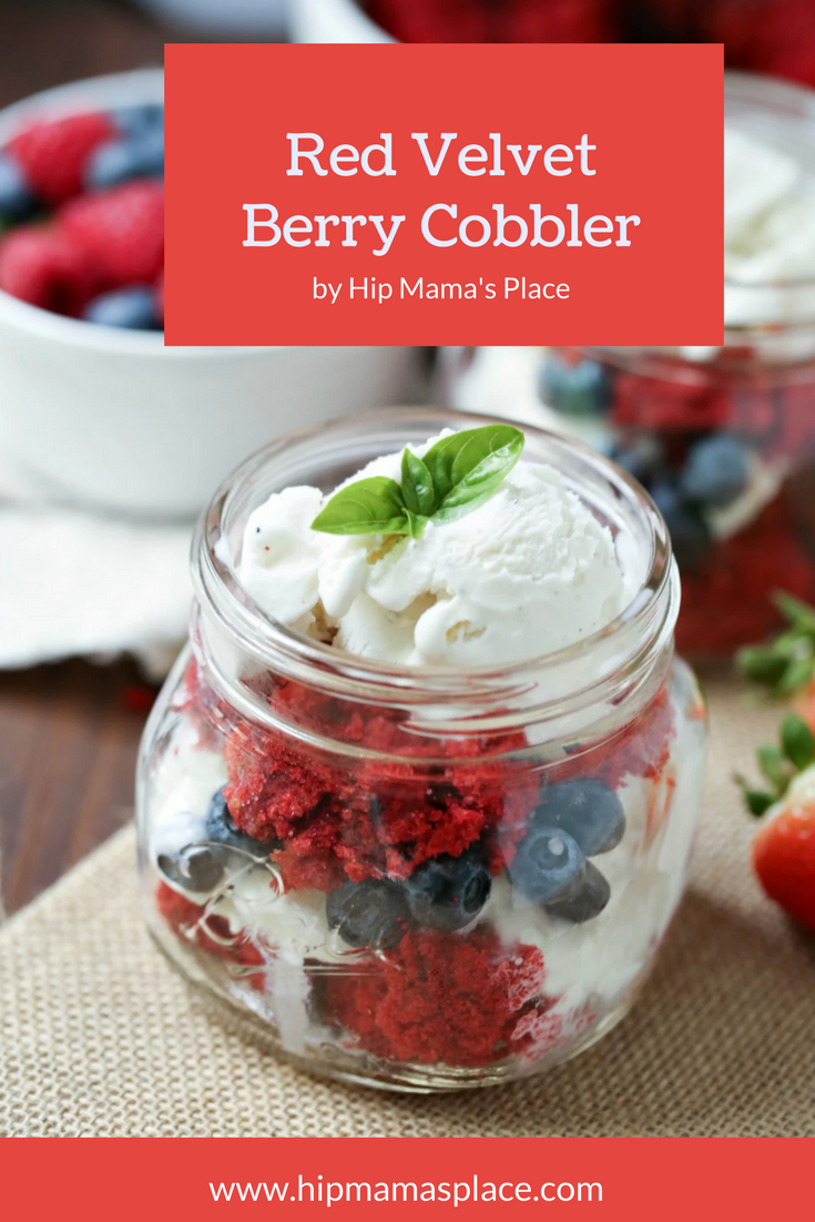 Featuring fresh fruits, this delicious, colorful, and patriotic Red Velvet Berry Cobbler recipe is beautiful on display and delicious after a hearty dinner!