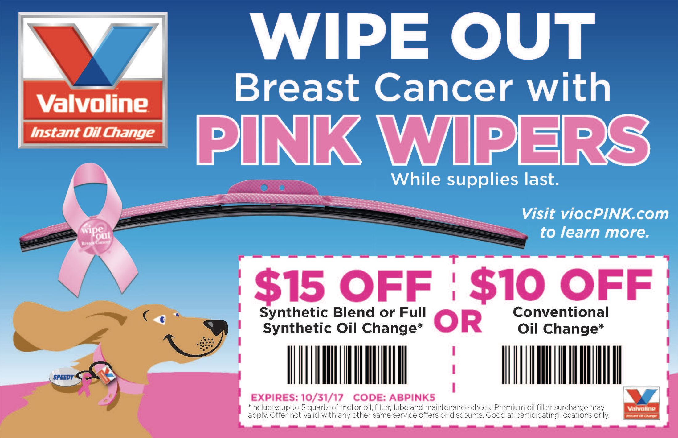 If you purchase the AutoTex PINK wipers onSaturday, September 30th, VIOC willdoubletheir donation to the National Breast Cancer Foundation!