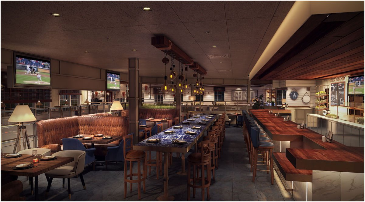 The contemporized bar area of the newly renovated Red Lobster in Manassas, Virginia features lounge-style seating and community tables – which are great for enjoying drinks, appetizers or tasting plates.
