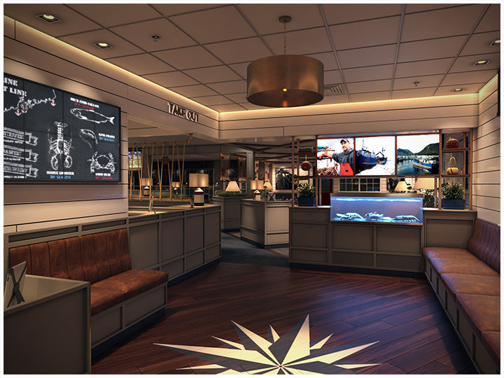 The Lobbyat the newly renovated Red Lobster in Manassas (Virginia) offers a welcoming entry point featuring a nautical star and comfortable waiting area
