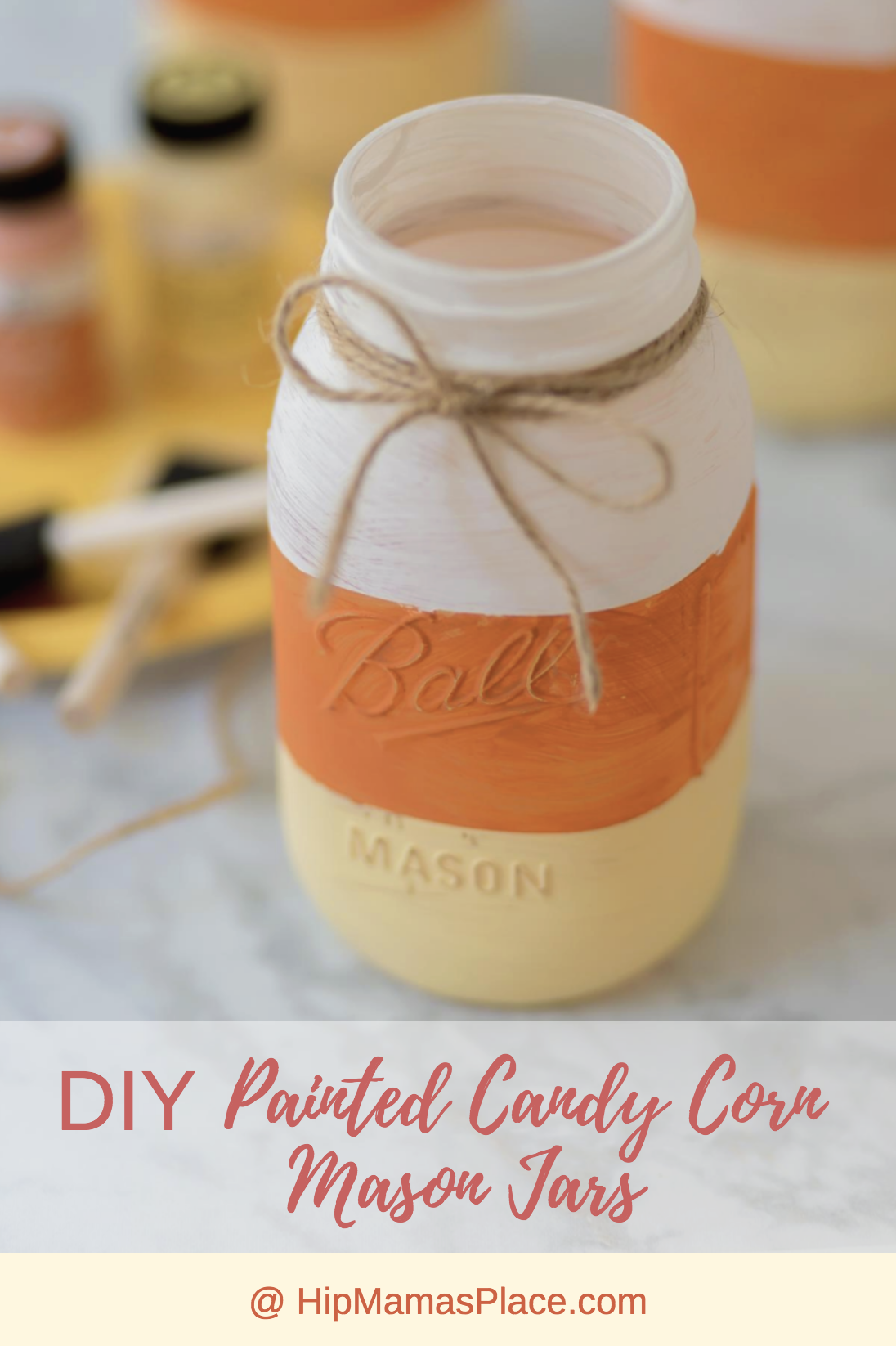 Here's a simple tutorial for DIY painted candy corn mason jars. Enjoy!