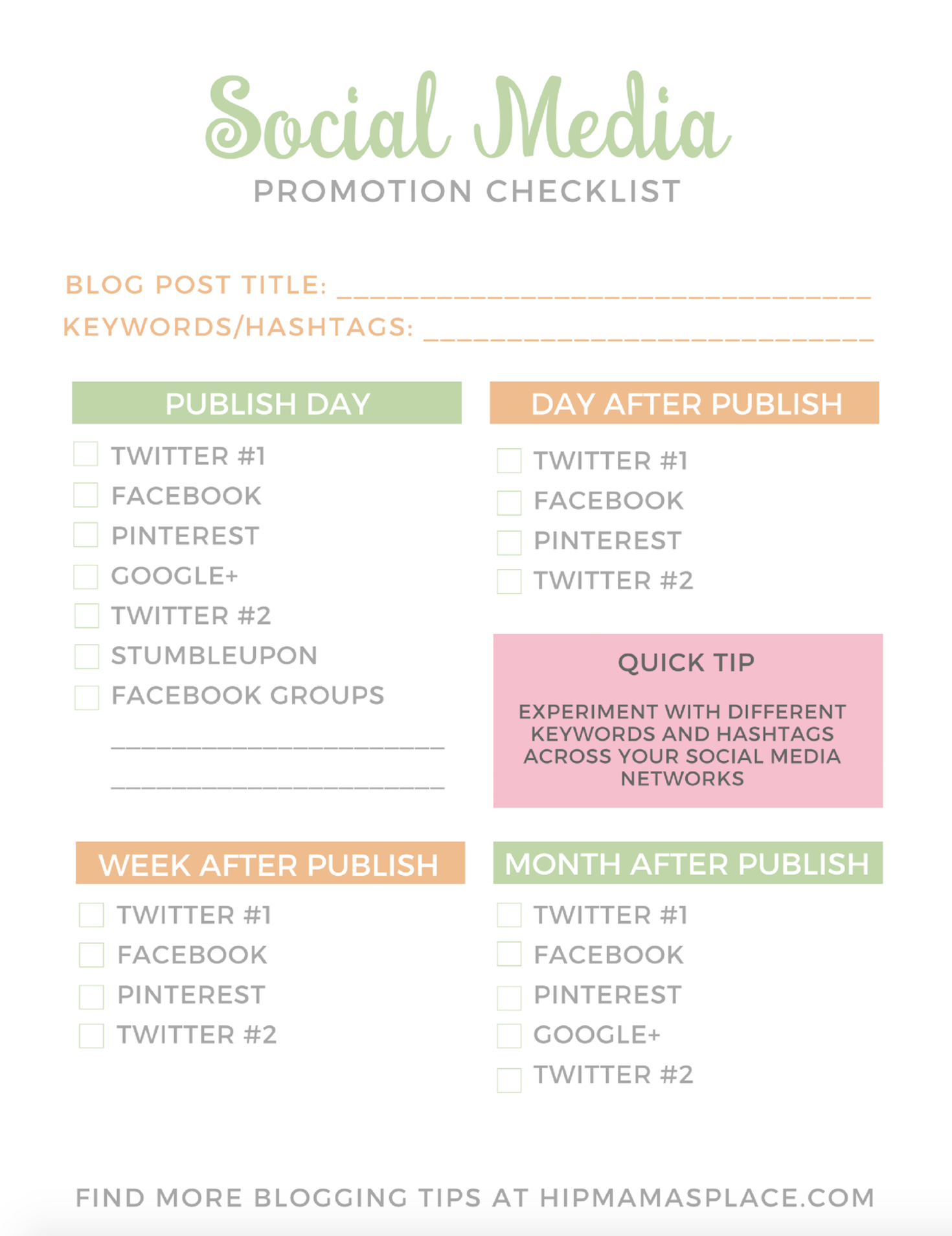 Download your FREE Social Media Promotion Checklist at Hip Mama's Place!