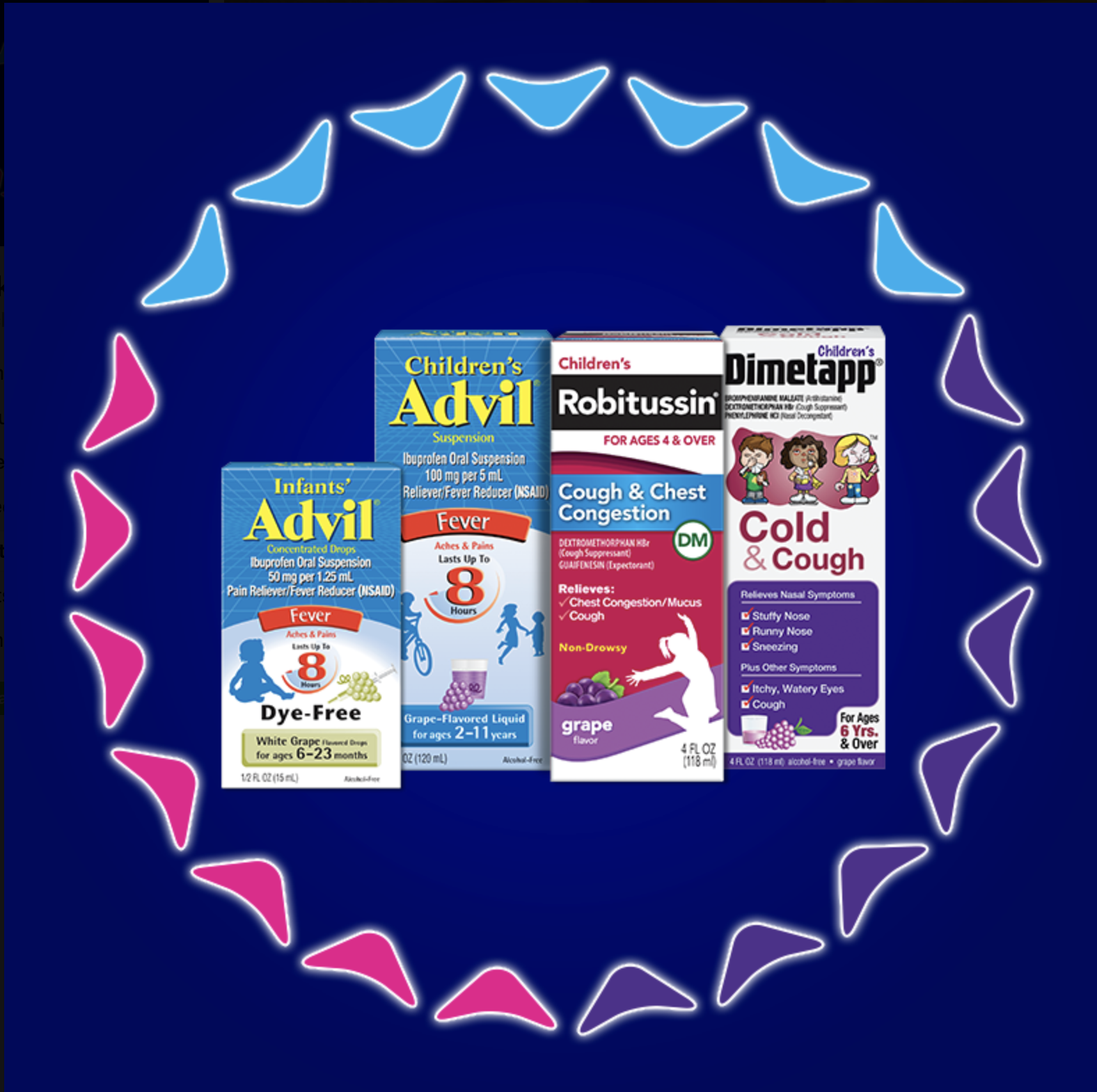 When sick gets real, the pediatric brands of Pfizer Consumer Healthcare are there with three solutions – Children's Advil®, Children's Robitussin® and Children's Dimetapp® – to tackle the ickiest of symptoms.