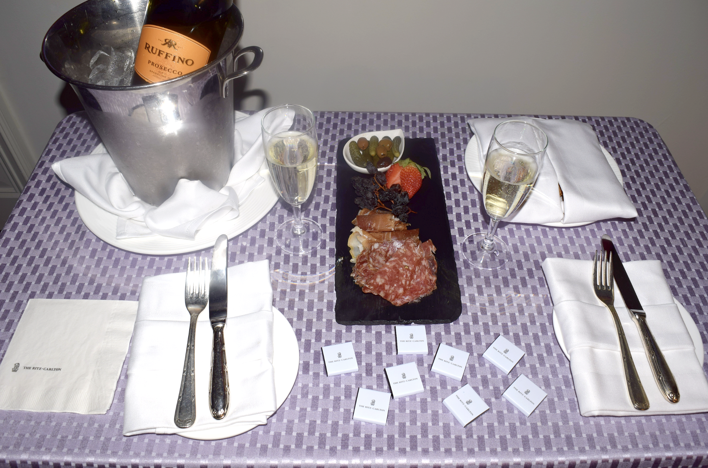 A warm welcome at The Ritz-Carlton Pentagon City where we were served a bottle of sparkling wine and a cheese andcharcuterie board upon our arrival.
