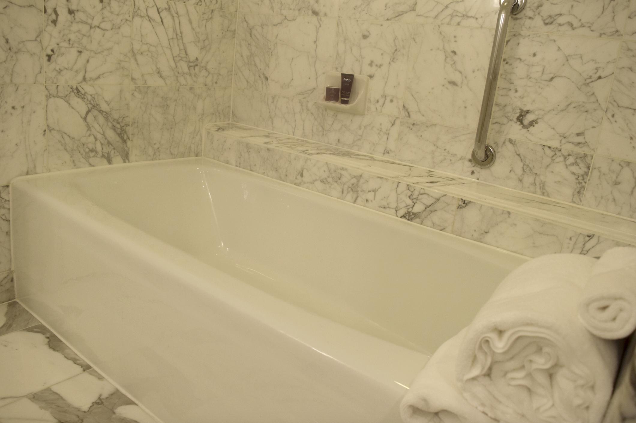 I enjoyed my long soak at this beautiful and luxurious marbled bathtub at The Ritz-Carlton, Pentagon City!
