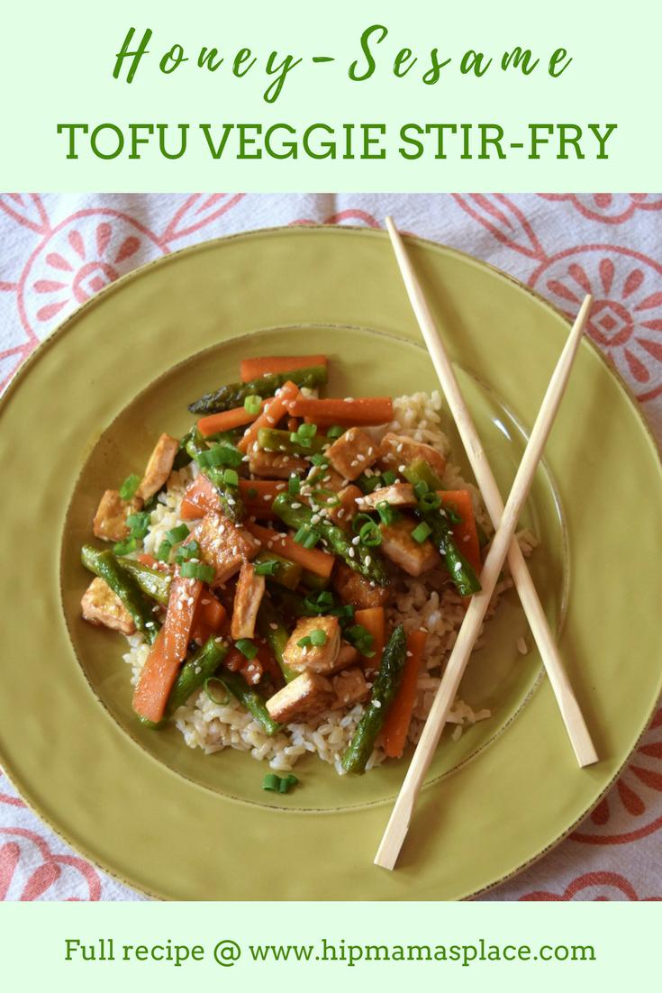 Check out my Honey-Sesame Tofu Veggie Stir-Fry recipe made with Mori-Nu Silken Tofu.