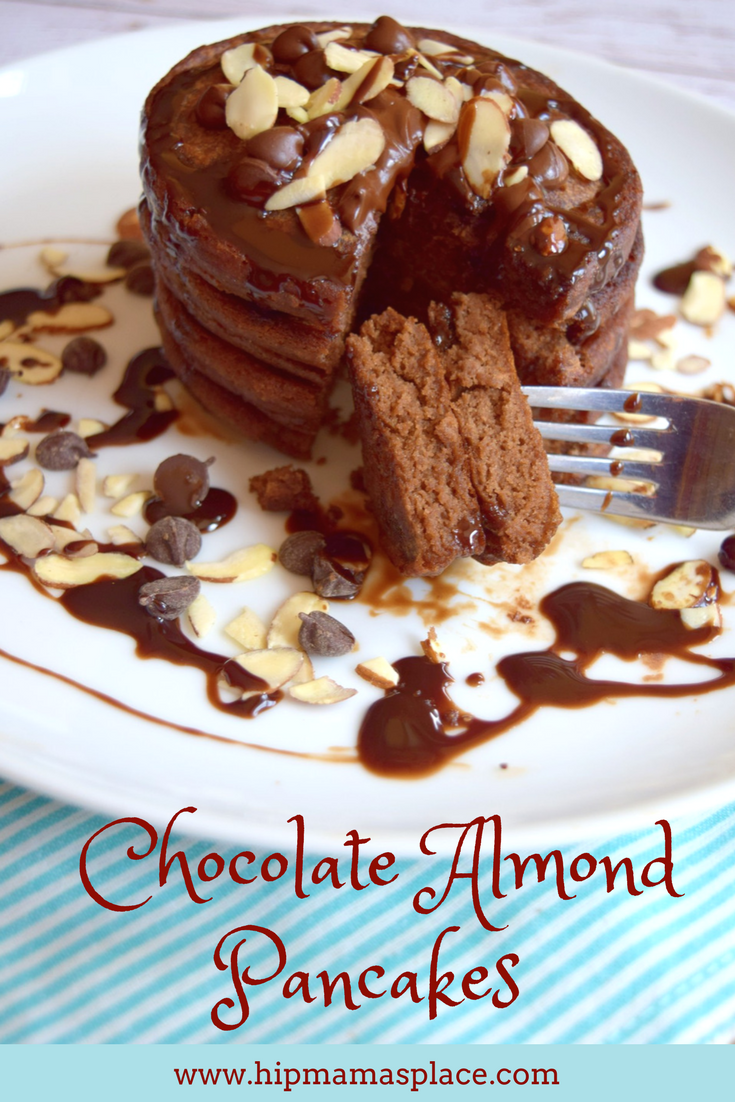 Chocolate Almond Pancakes made with International Delight® Almond Joy™ creamer are delicious and are great for breakfast or brunch! Full recipe at www.hipmamasplace.com! #DelightfulMoments #SplashOfDelight #CollectiveBias #AD