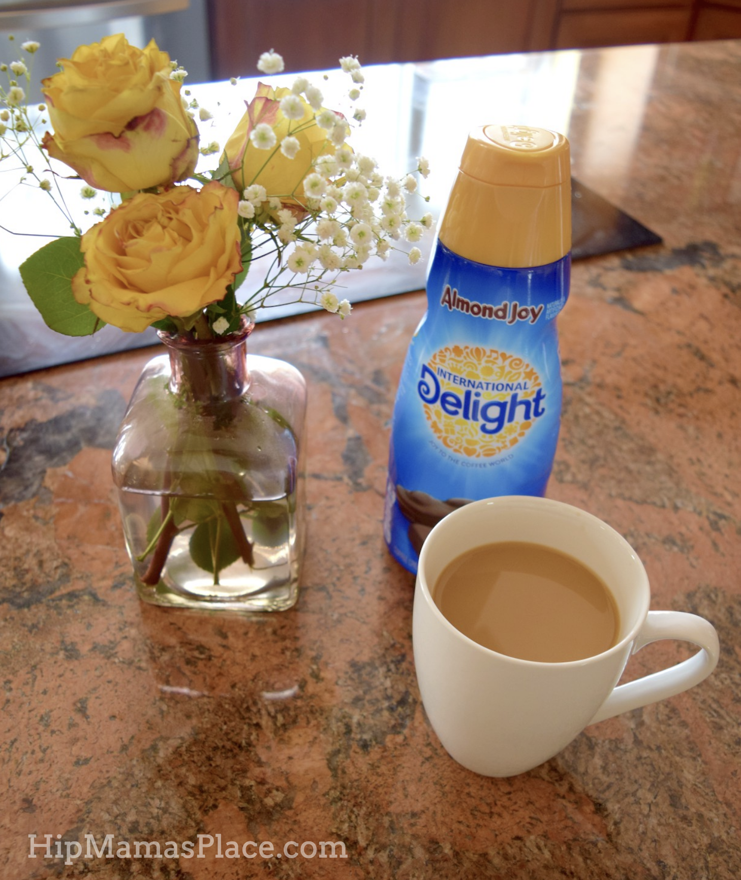 morning coffee with International Delight Almond Joy creamer