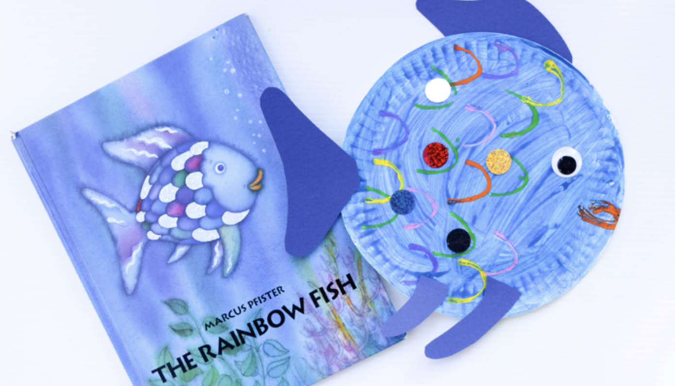 8bf7e14966a01f Paper Plate Fish Craft Inspired by the picture book, The Rainbow Fish