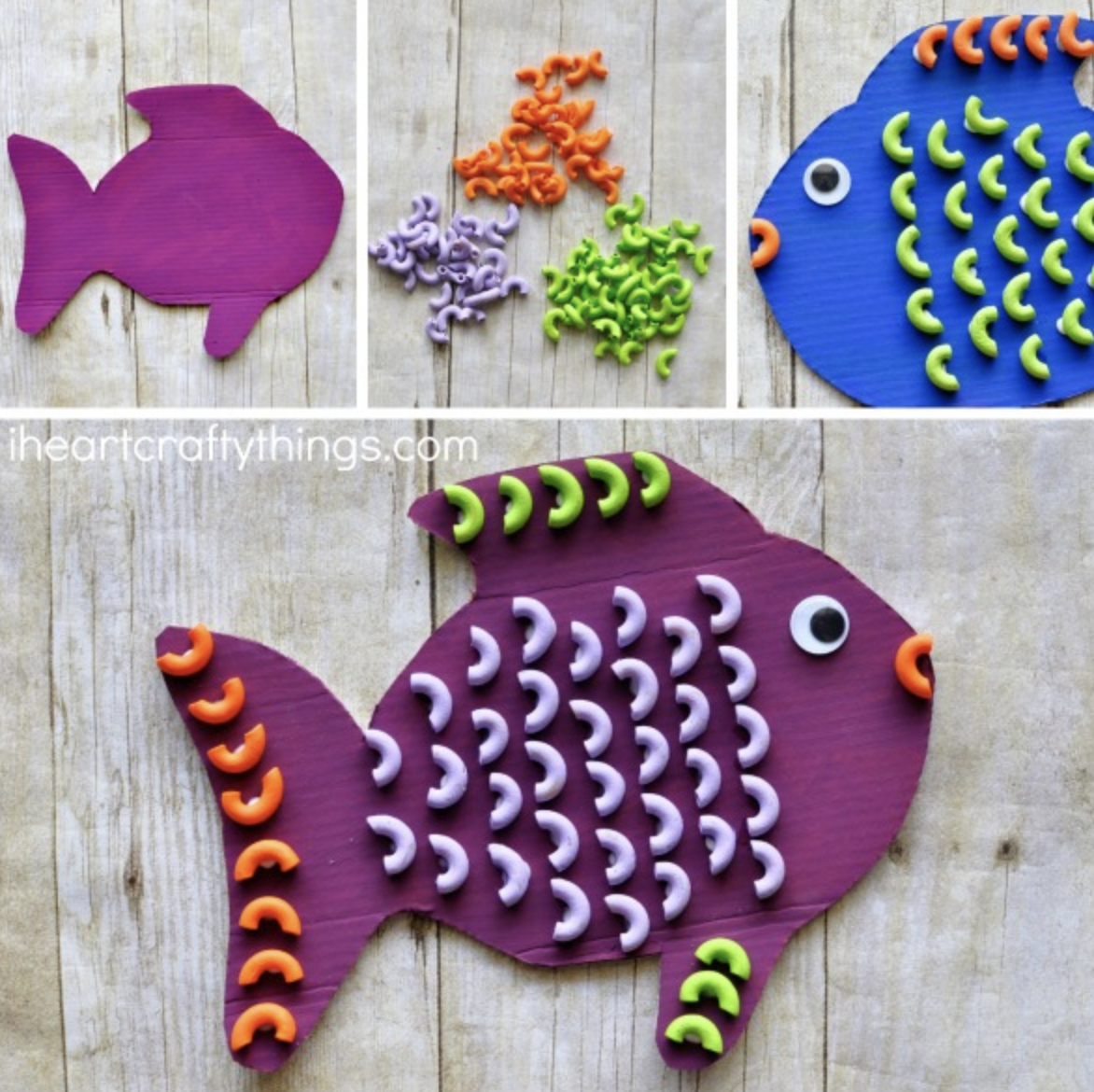 Colorful Pasta Fish Craft For Kids
