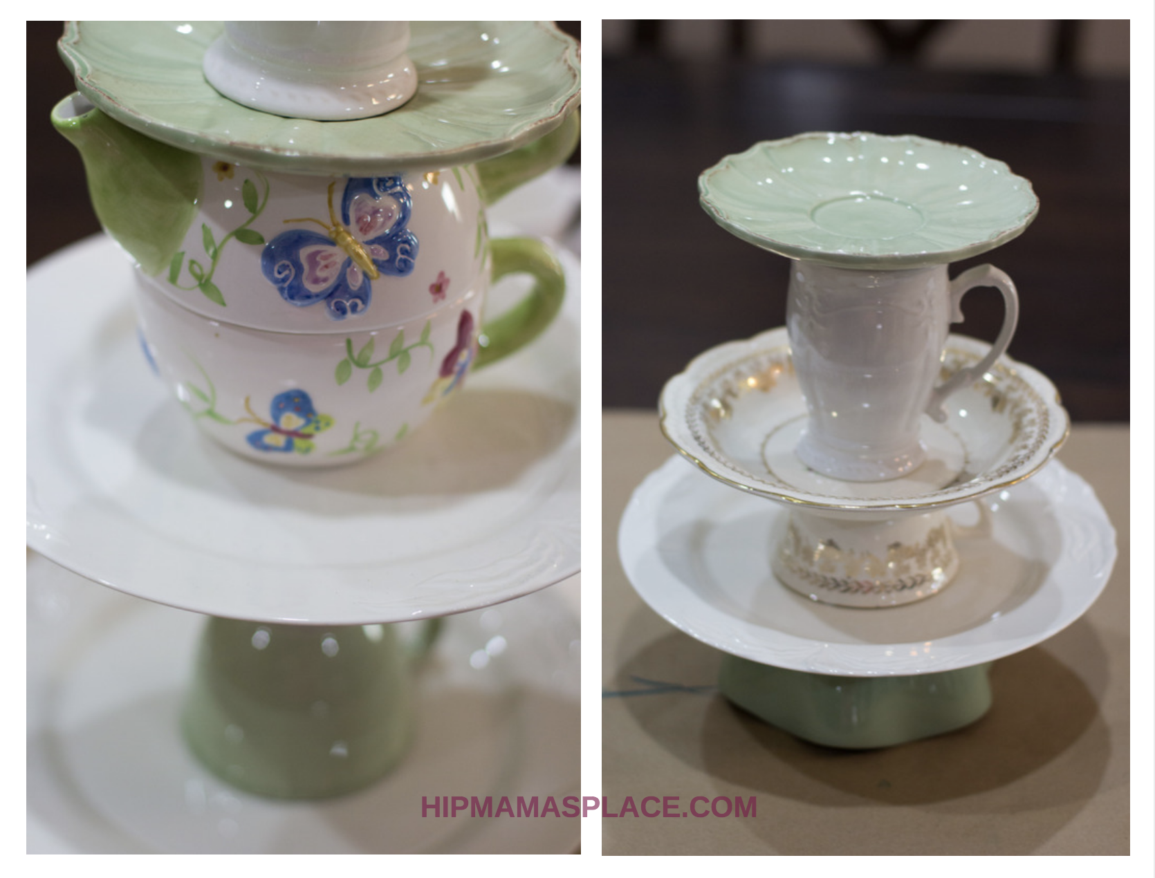 Here's a lovely DIY upcycled tiered cake stand that I made out of coordinating plates, bowls and coffee cups from the thrift store!
