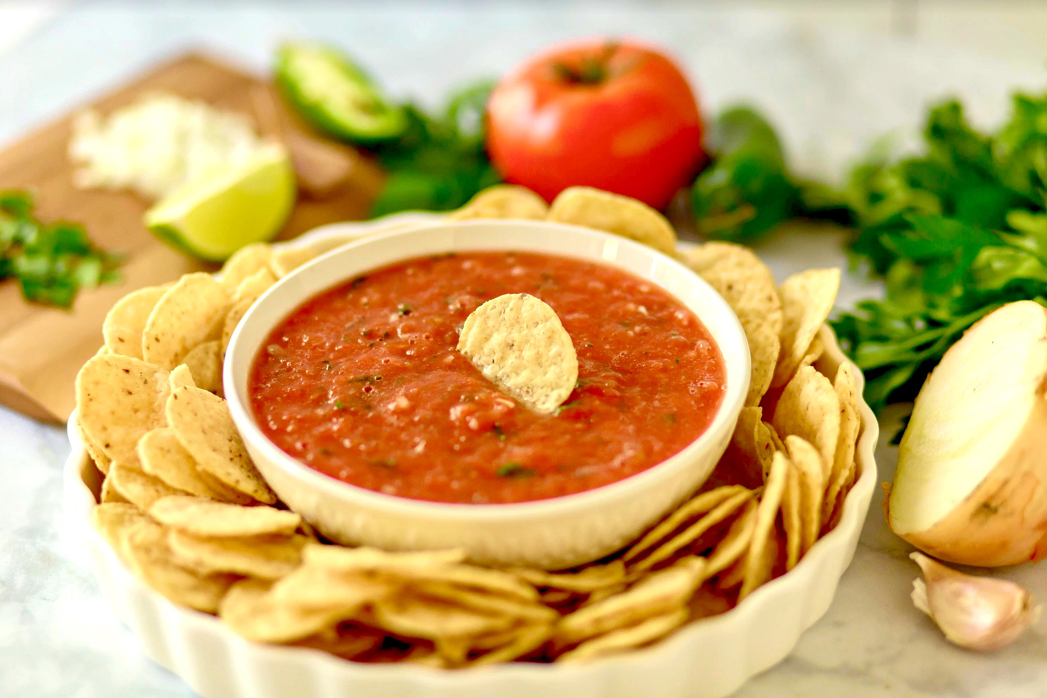 5 Minute Homemade Salsa and Tips on Throwing a Football Party