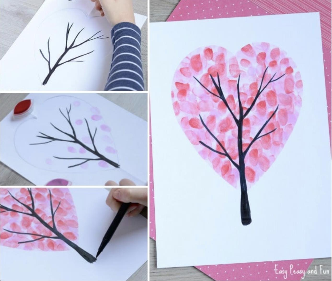 Valentine's Day heart fingerprint trees